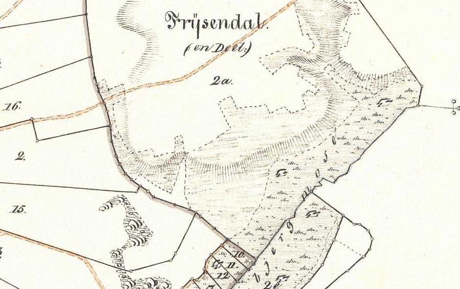 Udsnit af den sydøstligste del af Sall sogn – Egebjerg mose. Kortet er udgivet i 1835.