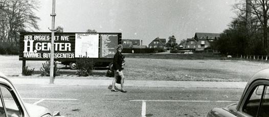 Torvet i Hammel, under Tema Center byggeriet ca 1970